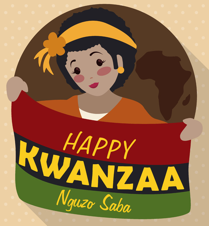 kwanzaa: Poster with smiling dark skinned girl holding a traditional flag for Kwanzaa celebration over a brown button with Africa silhouette. Illustration