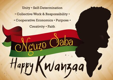 Poster with man and Africa silhouette, traditional flag and the Seven Principles of African Heritage (or Nguzo Saba) of Kwanzaa celebration.