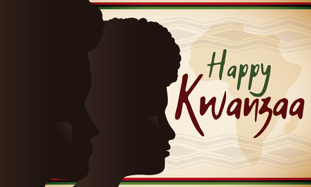 Banner with dark skinned man and woman faces together an africa banner with dark skinned man and woman faces together an africa silhouette for kwanzaa celebration with m4hsunfo