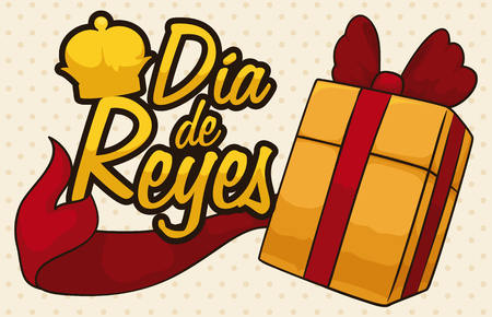 Banner with gift and red ribbon around a sign with a crown silhouette over a spotted background to celebrate Dia de Reyes (written in Spanish). Illustration