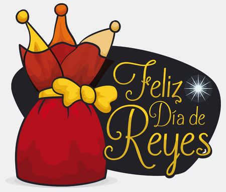 Red pouch like a present with golden ribbon over a night view of the Bethlehem star to celebrate Dia de Reyes (written in Spanish). Illustration