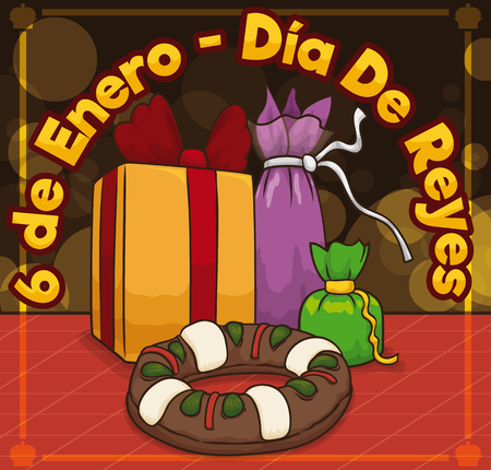 Poster with gifts and delicious kings cake offering to the magi for Dia de Reyes celebration (written in Spanish) in January 6.