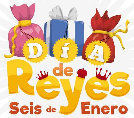 Poster with a colorful set of gifts with labels and golden sign with three crowns for the tradition of magi in Dia de Reyes.