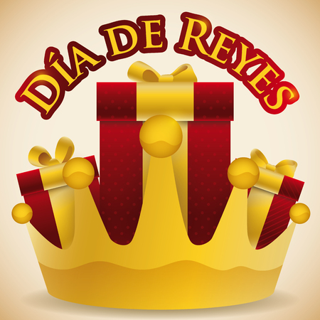 Poster with giant golden crown and some gifts inside it to celebrate Dia de Reyes (written in Spanish). Illustration