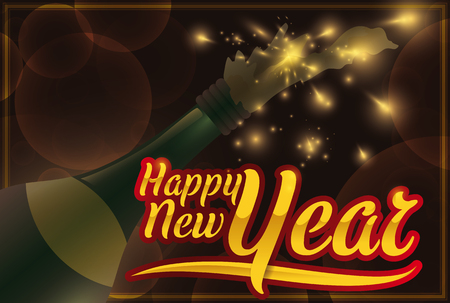 Poster with a firework display, golden and glossy greeting and a traditional champagne bottle to celebrate the New Year.