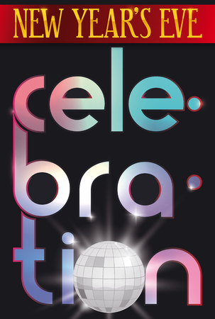 Dark poster with red greeting ribbon, colorful letters and glowing disco ball for New Year's Eve celebration. Ilustrace