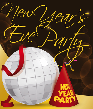 Poster with silver disco ball, red streamer and party hat to celebrate New Years Eve.