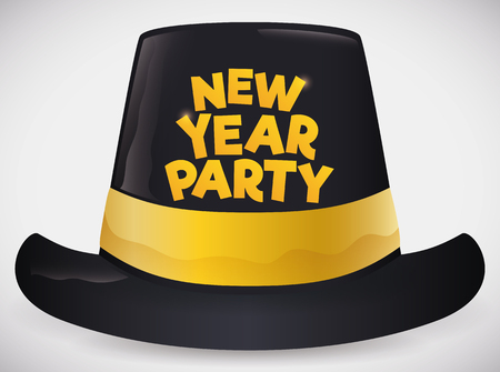 Poster with a black party hat with golden ribbon and sign to celebrate New Year Party.
