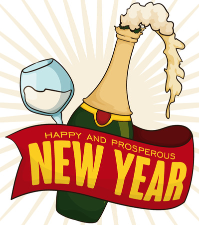 Poster with greeting in red ribbon, frothy champagne bottle and wineglass for thirst quench in New Year celebration.