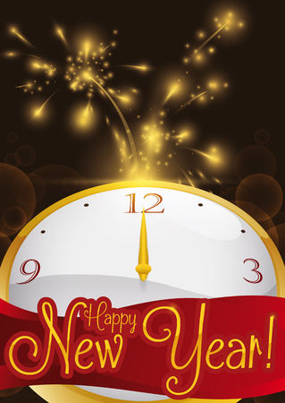 Poster with firework display and golden clock in a midnight of New Year's Eve. Ilustração