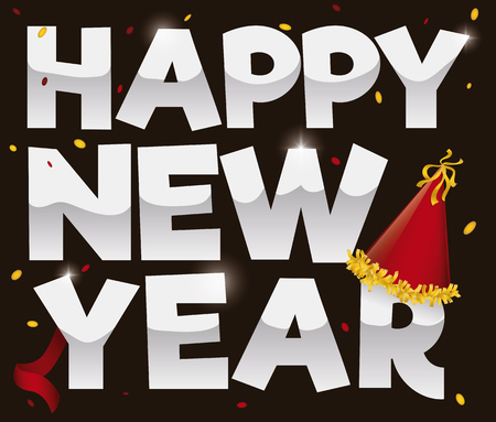 Commemorative poster for New Year with greeting silver sign, festive party hat, streamer and confetti. Vectores