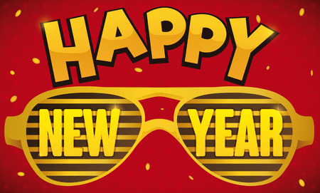 Banner with golden shutter party glasses and text over it and confetti shower for New Year party. Illustration