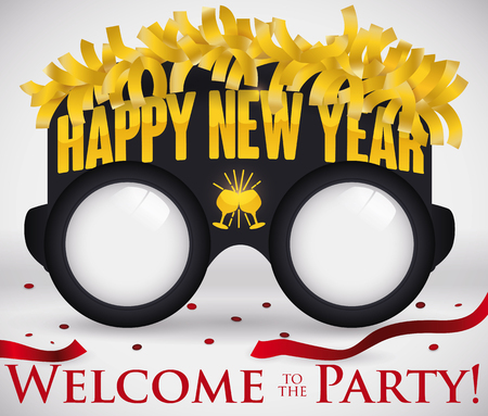 Poster with rounded party glasses decorated with golden streamers, wineglasses toasting and greeting message for New Year party with confetti around it.