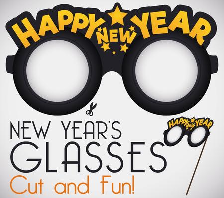 Doe het zelf: snijd het voor een grappige nieuwjaarsbril met begroeting en sterren. Stock Illustratie