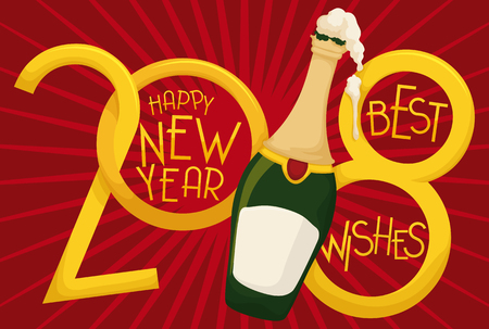 Greeting poster with golden number 2018 and a frothy champagne bottle to celebrate the year 2018 with good wishes.