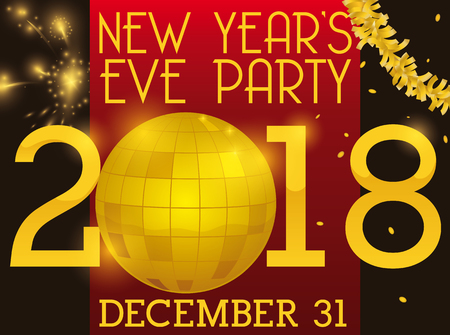 poster for new year s eve party with golden disco ball garland