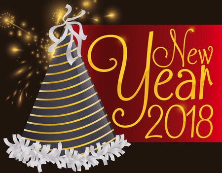 Poster with night view of New Year celebration with a party hat, red label and fireworks display. Illustration