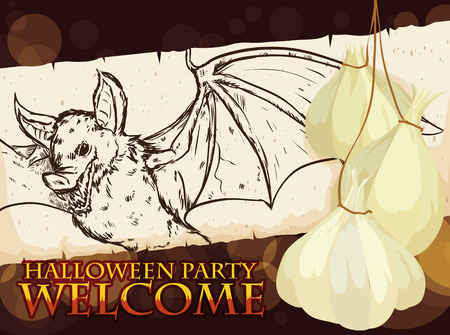 Poster with realistic hand drawn bat in a scroll, decorated with garlic wreath and bokeh effect in the dark background.