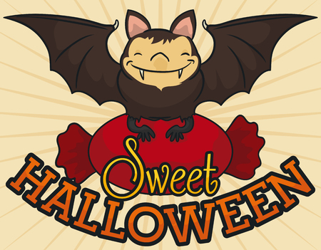 Poster with smiling bat holding a giant wrapped hard candy and wishing you a sweet Halloween. Stok Fotoğraf - 95447964