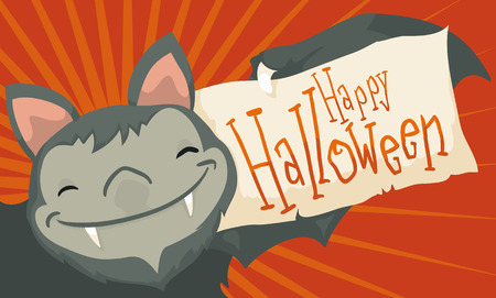 Banner with cute smiling bat holding a greeting paper for a happy Halloween celebration.