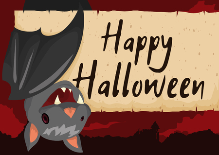 Poster with cute hanged bat smiling at you in a spooky night poster with cute hanged bat smiling at you in a spooky night view with greeting message m4hsunfo