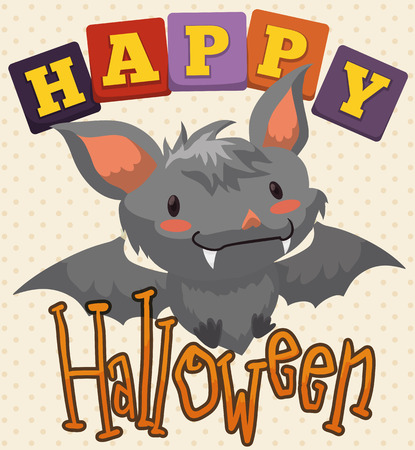 Poster with greeting message and cute baby bat smiling at you in Halloween celebration for children. 向量圖像