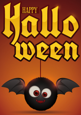 Poster with a cute furry bat toy holding a golden greeting message poster with a cute furry bat toy holding a golden greeting message for a happy halloween m4hsunfo