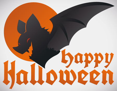 Postcard with bat design and greeting message for Halloween celebration.