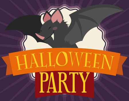 Invitation card in flat style with mischievous smiling bat over greeting ribbons inviting you to the Halloween party. Stock Illustratie