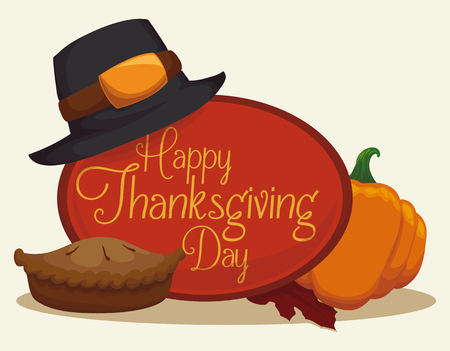 Traditional Thanksgiving pie with pilgrim hat and pumpkin. Illustration