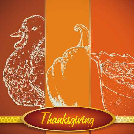 Thanksgiving elements in hand drawn style.