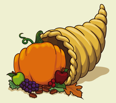 Traditional cornucopia with fruits and vegetables in colorful cartoon style.