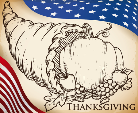 Poster in hand drawn style with a traditional cornucopia with harvest season vegetables over a U.S.A. flag designs for Thanksgiving Day celebration. Illustration