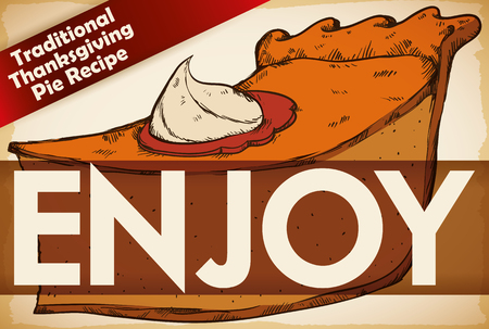 Banner in retro hand drawn style for promotional traditional recipe for Thanksgiving pie with a delicate home touch.