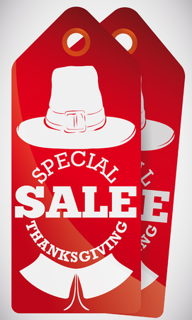 Special red tags with pilgrim costume silhouettes: traditional hat and colonial collar ready for special sales in Thanksgiving.