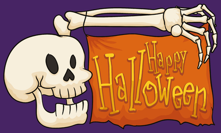 Funny smiling skull holding a ragged banner with his arm bones celebrating Halloween.