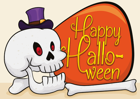 Smiling skull with some bones and a little purple hat next to greeting sign to commemorate a funny Halloween.