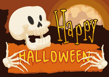 Happy skull with a orange scroll with greeting message for Halloween in a mysterious night with full moon.