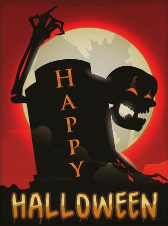 Esqueleto espeluznante saliendo de su tumba en una noche de luna llena de Halloween. Ilustración de vector