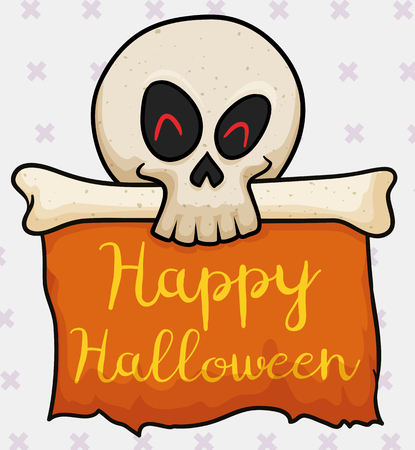 Tender skull with bone holding a orange greeting banner for Halloween with cross pattern. Illustration