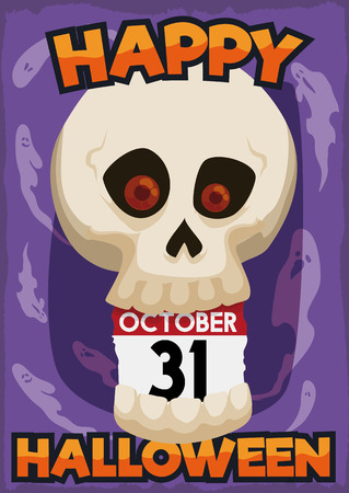 Poster with frighted skull with ghost around it and a loose-leaf calendar reminder of Halloween in October 31.
