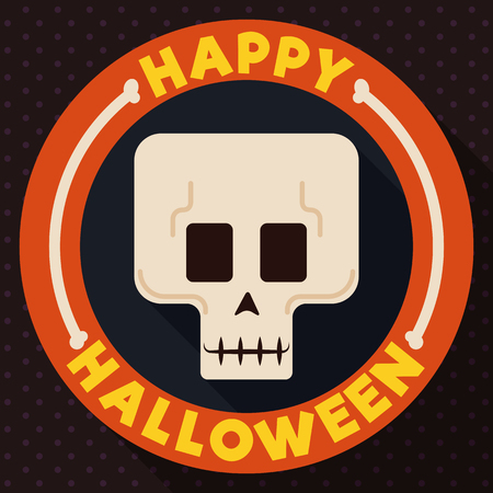 Tender skull in a rounded label with bones, celebrating Halloween in flat style and long shadow design.