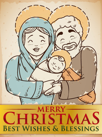 Poster with beauty hand drawn design of the Holy Family with brushstrokes with golden ribbon celebrating Christmas holidays.