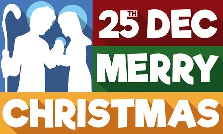 Banner en estilo plano con la silueta de la Sagrada Familia en mensaje de saludo tradicional para la celebración de Navidad el 25 de diciembre. Ilustración de vector