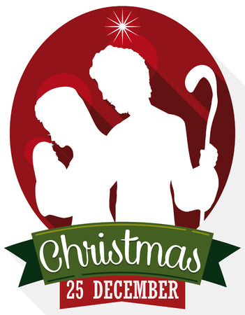 Poster in flat style and long shadows with Holy Family silhouette carrying the newborn Jesus with green ribbons for Christmas Day in December 25.