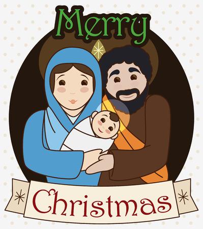 Plakat ze Świętą Rodziną: Dzieciątko Jezus, Maryja Panna i Święty Józef z życzeniami na wstążce na święta Bożego Narodzenia.