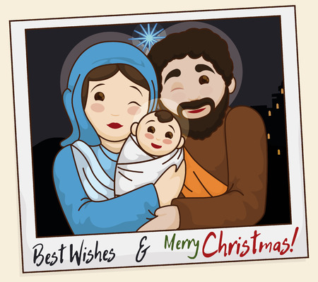 Poster with picture of the Holy Family with greeting message to celebrate Christmas.