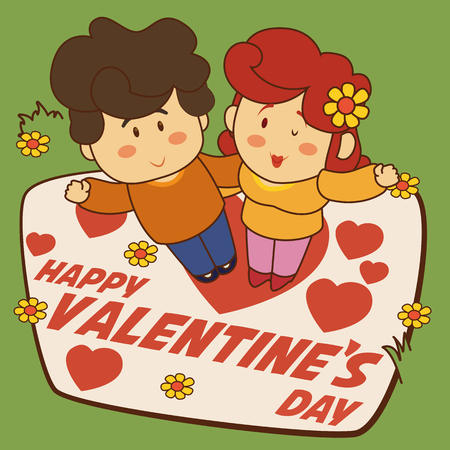 Smiling couple with Valentine's Day decoration in the garden. Illustration