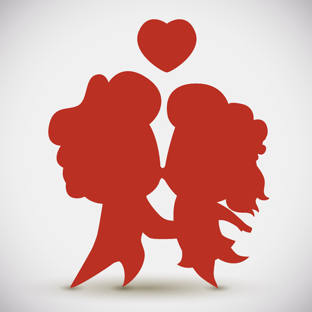 Cute couple silhouette with floating love heart above them.