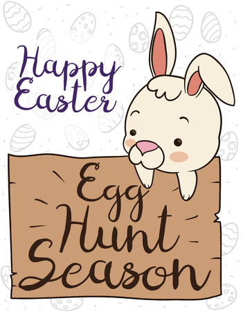 Poster with cute bunny over a wooden sign promoting the egg hunting in Easter, over a background with eggs in doodle style.